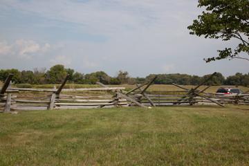 Split rail fence outdoors