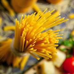 Pasta close-up shot, ingredients on background