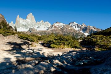 Argentina El Chaltén with Fitz Roy in Patagonia at morning