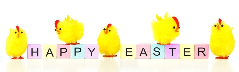 Happy Easter wooden blocks with yellow fuzzy chicks