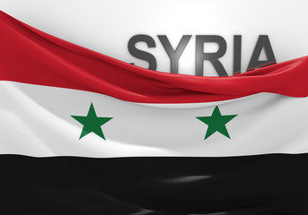 Syria flag and country name