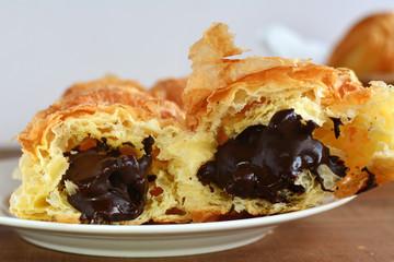 Chocolate croissant closeup