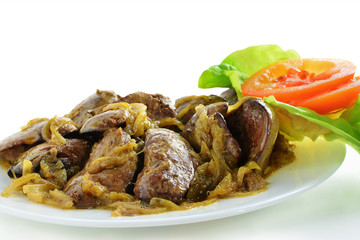Fried chicken livers with onion
