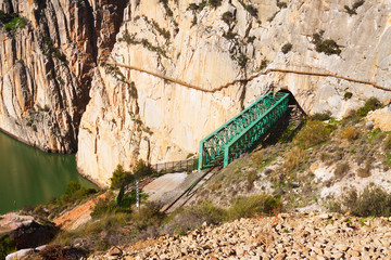 Railway bridge in rocky  and Caminito del Rey