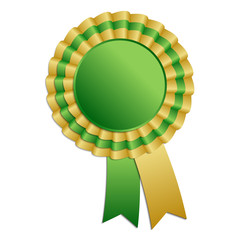 Gold and green blank award rosette with ribbon