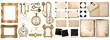 Antique book, aged paper, golden keys. Collection of vintage obj - 78673007