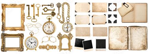 Leinwanddruck Bild Antique book, aged paper, golden keys. Collection of vintage obj