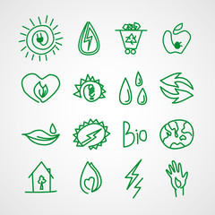 Hand drawn ecology icons. Vector doodles
