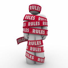 Rules Man Wrapped Tape Regulation Compliance Follow Laws Guidanc