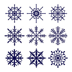 Set of vector snowflakes icons