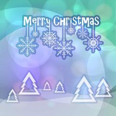 Merry Christmas greetings on bokeh background