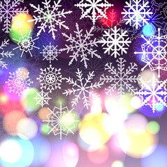 Bright bokeh background with snowlakes