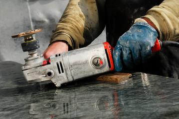grinding, element, granite, abrasive, hands, work