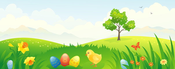 Easter chicken banner