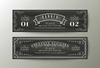 Banner design template with Vintage floral frame on chalk board