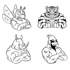 Bee,Tiger,Rhino and Bird Mascot Collection