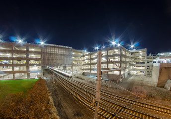 electro train intermodal terminal with parking at night