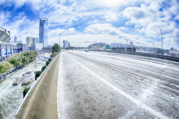snow and ice covered city and streets of charlotte nc usa