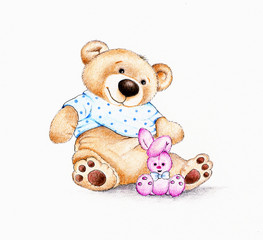 Teddy bear and bunny
