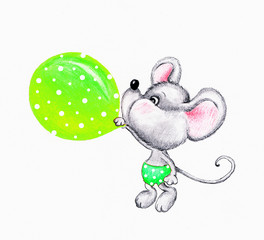 Cute mouse with balloon