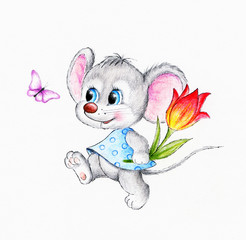 Cute mouse with flower