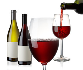 Wine bottle and glass on white background