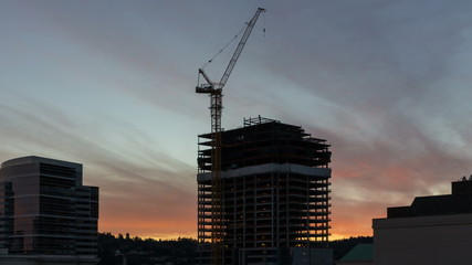Time Lapse of Sunset Over New Building Construction 1080p