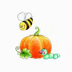 Pumpkin, bee and caterpillar