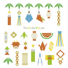 Set of tanabata(the star festival) elements