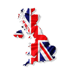 Map of United Kingdom with waving flag isolated on white backgro