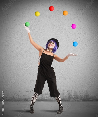 Leinwanddruck Bild Clown like a juggler