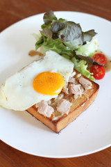 Fresh made Tuna brunch with egg