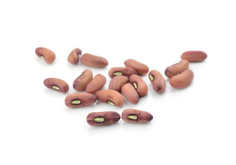 Organic red beans isolated on white background.
