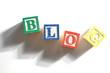 Alphabet Blocks spelling the words blog
