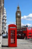 Telephone box, Big Ben and double decker bus in London
