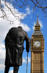 Statue of Winston Churchill and Big Ben in London