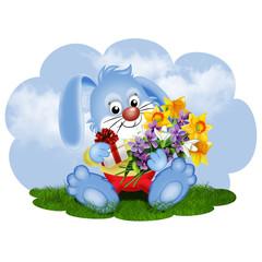 зайчик с цветами на поляне