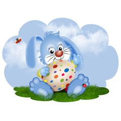 заяц на поляне с яйцом