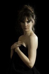 Pretty Brunette Woman Isolated Black Background