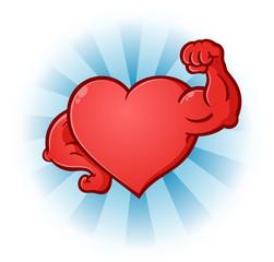 Heart Flexing Muscles Cartoon Character
