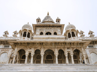 Jaswant Thada. Ornately carved white marble tomb of the former r