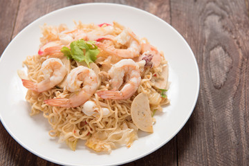 Asian spicy seafood noodle (Yum noodle seafood)