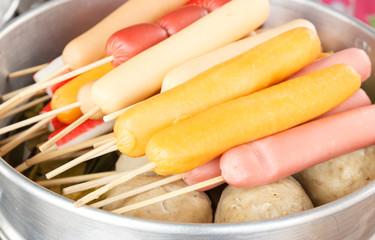 Steamed sausage skewers - Thai style