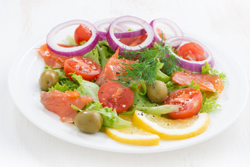 fresh salad with salted salmon, close-up
