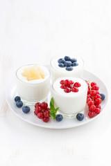 Natural yogurt with fresh berries in glass jars, vertical