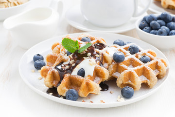 waffles with blueberries, cream and chocolate sauce