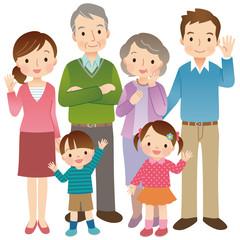 3世代家族 6人 全身