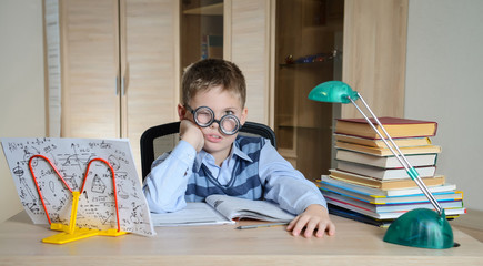 Tired Boy Wearing Funny Glasses Doing Homework. Education.