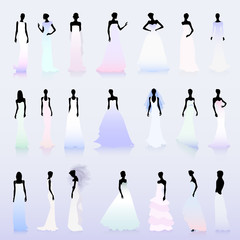 Set of wedding dresses-colored