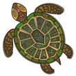 Decorative ornamental turtle with sign, colorful ethnic pattern. - 78678441